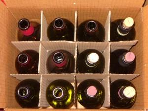 bottiglie vuote da degustazione vini tipici