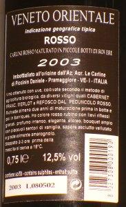 Carline Rosso Riserva 2003, etichetta posteriore