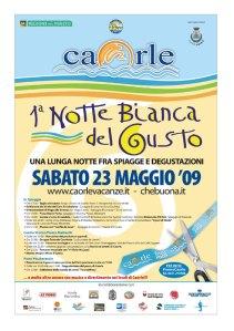locandina notte Bianca del Gusto 2009 a Caorle