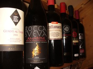 fine red wine selection from italy: montalcino, curtefranca, nero d'avola, bolgheri, amarone, valpolicella