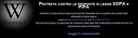Solidarietà a Wikipedia: Wikipedia Vs. SOPA