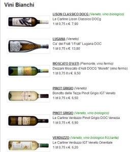 lista vini bianchi