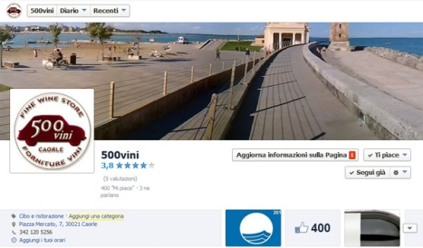 "Bandiera Blu a Caorle e 400 ""Mi Piace"" alla pagina Facebook di 500VINI"