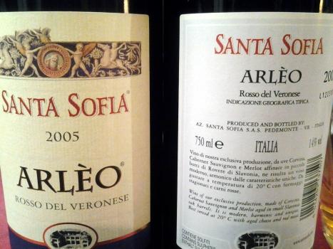 "Corvina & Corvinone in ""salsa"" bordolese: Santa Sofia Arlèo 2005."