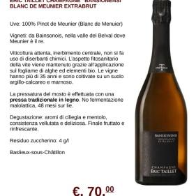 taillet champagne extra brut BANSIONENSI scheda
